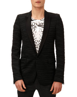 Balmain Zebra Jacquard Evening Jacket, Black