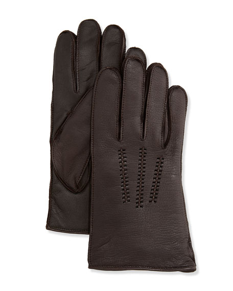 db89cbf8b9e Men's Leather Smart Gloves Brown