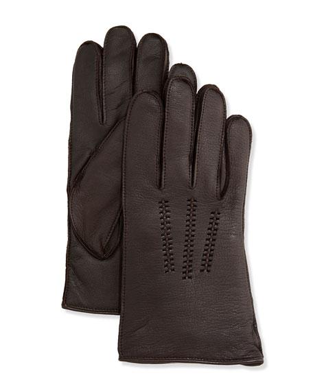 UGG Australia Men's Leather Smart Gloves, Brown