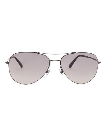 Shiny Metal Aviator Sunglasses, Black