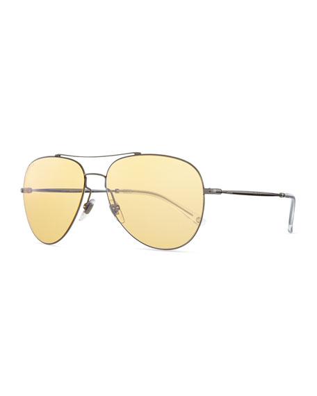 Gucci Flash-Lens Aviator Sunglasses, Dark Ruthenium
