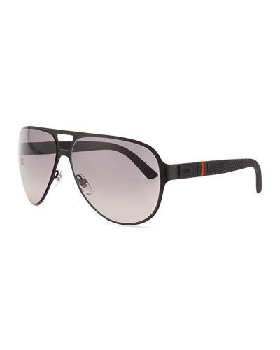 Light Steel Aviator Sunglasses, Black