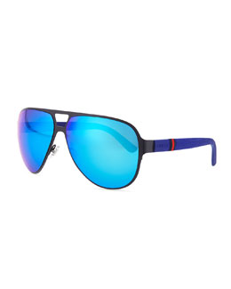 Semi Matte Aviator Sunglasses, Navy