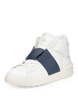 Rockstud Leather High-Top Sneaker, White/Blue