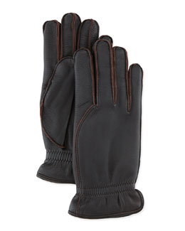 Leather Gloves with Cashmere Lining, Dark Brown
