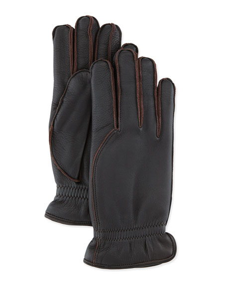 Loro Piana Leather Gloves with Cashmere Lining, Dark
