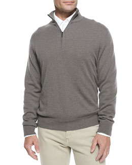 Melange Cashmere Half-Zip Sweater, Brown