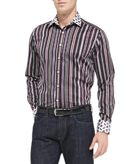 Etro Striped Sport Shirt with Contrast Collar, Purple