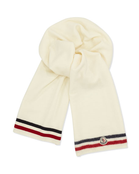 Men's Reversible Wool Logo Scarf, White