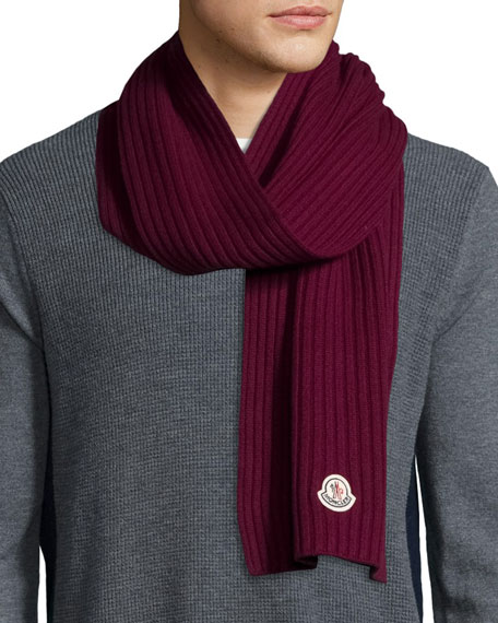 Men's Cashmere Ribbed Scarf, Burgundy