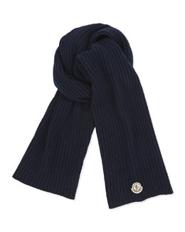 Moncler Men's Cashmere Solid Ribbed Knit Scarf