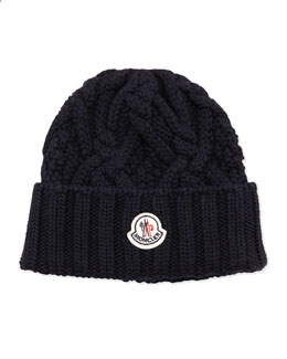 Moncler Cable Knit Logo Cap, Navy