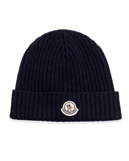 Cashmere Ribbed Skull Cap, Navy