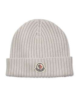 Moncler Cashmere Ribbed Skull Cap, White