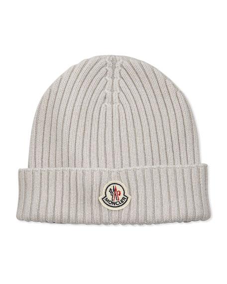 Cashmere Ribbed Skull Cap, White
