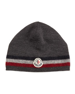 Moncler Cashmere Striped Logo Skull Cap, Charcoal