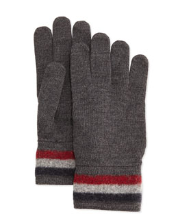 Cashmere Striped Logo Gloves, Charcoal