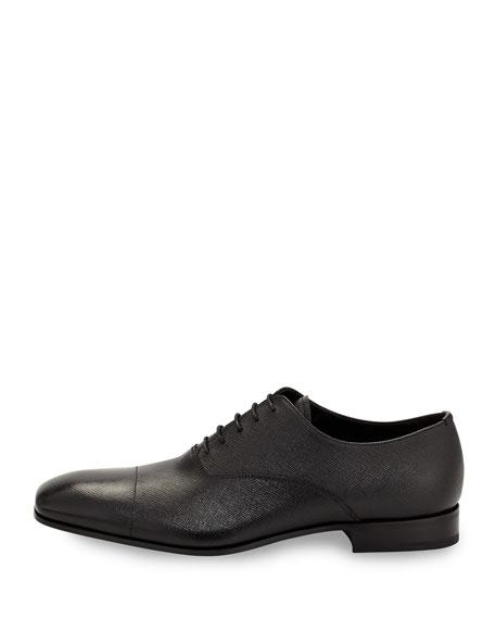 Saffiano Leather Oxford, Black