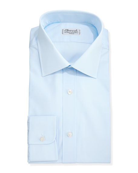 Solid Poplin Dress Shirt, Light Blue