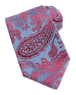 Paisley Woven Silk Tie, Blue/Red