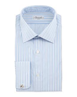 Striped French-Cuff Dress Shirt, Blue/White Stripe