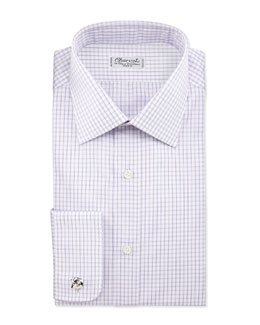 Check French-Cuff Dress Shirt, Lavender/White