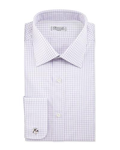 Check French-Cuff Dress Shirt, Lavender/White