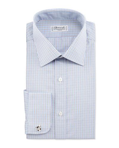 Check French-Cuff Dress Shirt, White/Blue/Brown