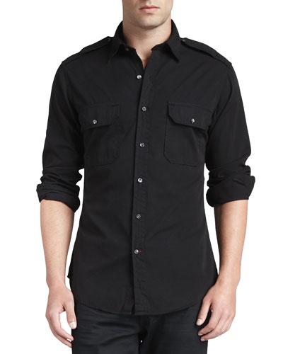 Casual Military Shirt, Black