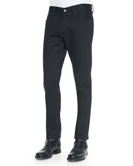 Straight-Fit Denim Jeans, Black