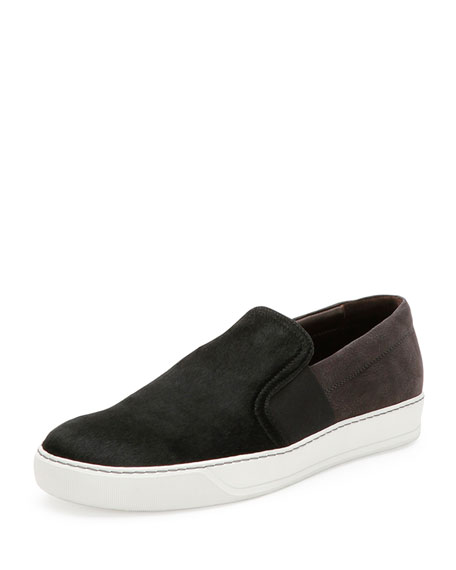 Calf Hair & Suede Skate Shoe, Black