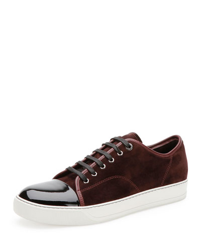 Suede & Patent Leather Low-Top Sneaker, Burgundy