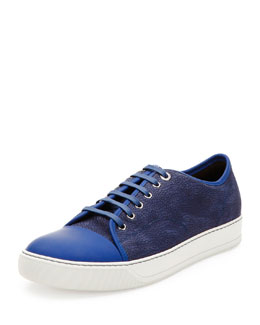 Crackle-Leather Low-Top Sneaker, Navy