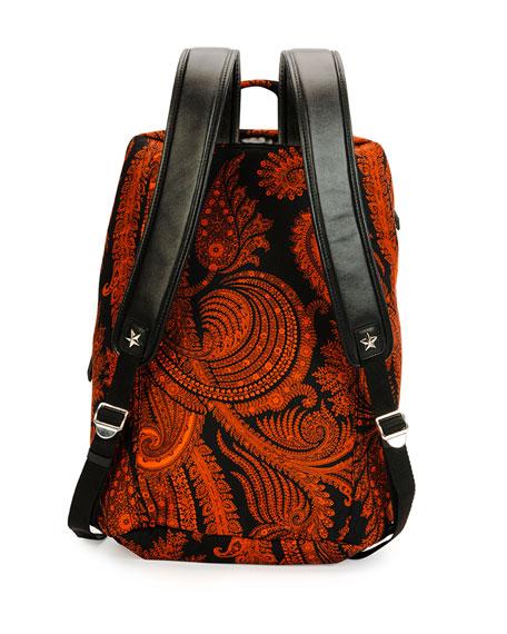 Convertible Printed 17 Backpack, Black/Orange