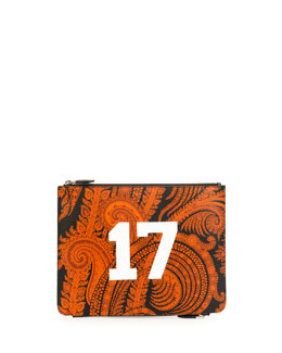 Paisley-Print & 17 Leather Pouch, Black/Orange