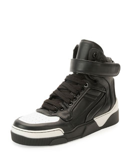 Tyson Cap-Toe Leather High-Top Sneaker, Black/White