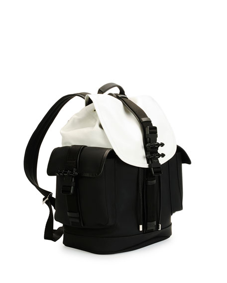 Obsedia Leather Flap Backpack, Black/White