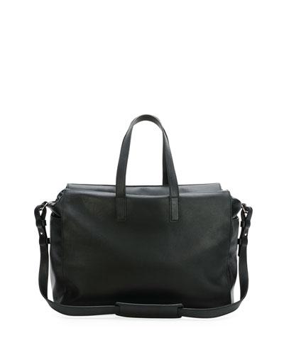 Men's Leather Perforated-Skull Duffel Bag, Black
