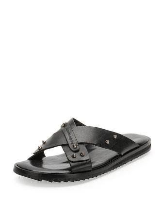 Alexander McQueen Crisscross Stud Sandal, Black