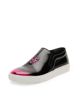 Embossed Skull Skate Shoe, Black/Pink