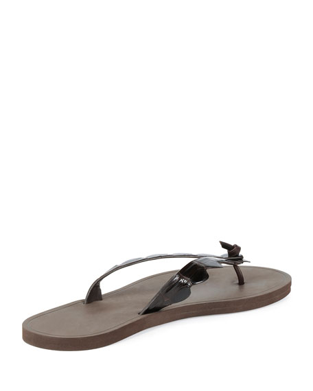 Men's Crocodile-Embossed Flip-Flop Sandals, Dark Brown