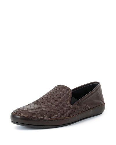 Woven Leather Skate Shoe, Brown