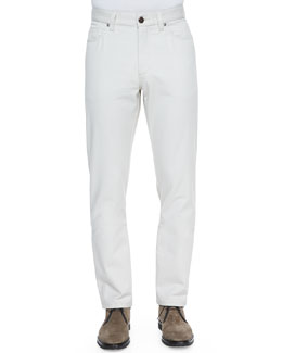 Cotton/Cashmere Five-Pocket Pants, Cream