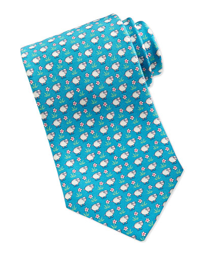 Silk Sheep/Flower-Print Tie, Turquoise