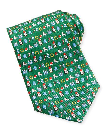 Salvatore Ferragamo Penguin Christmas Tie, Green