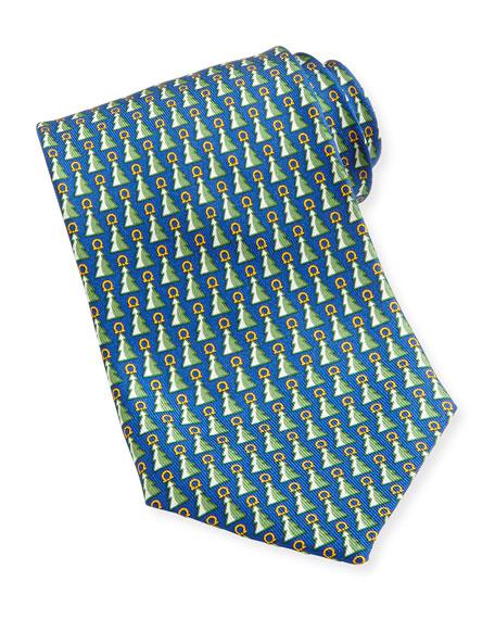 Salvatore Ferragamo Christmas Tree Gancini Tie, Blue