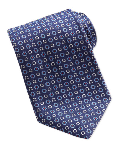 Gancini Flower-Print Tie, Red/Blue