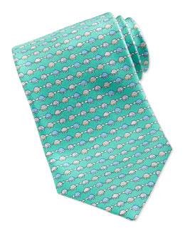 Woven Turtle-Print Tie, Aqua