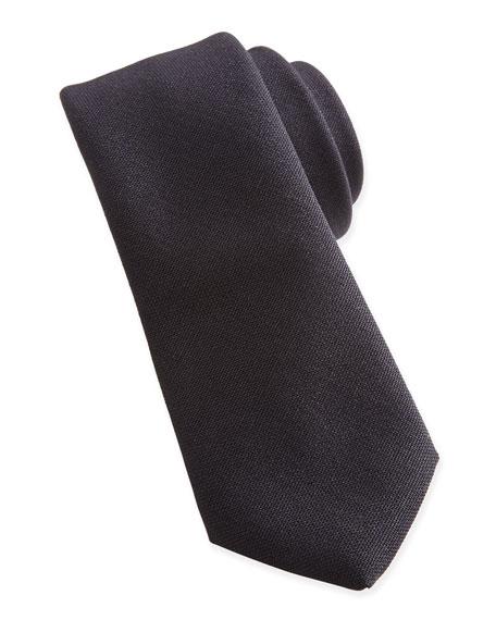 Lanvin Woven Wool Tie, Black