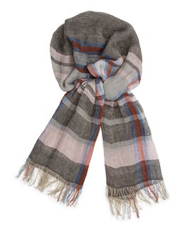 Men's Plaid Linen Summer Scarf, Navy